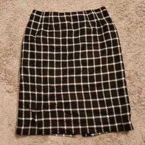 Sz 8 Talbots Black and White Wool Pencil Skirt
